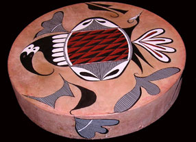 Acoma Pottery Birds Native American Painted Drums