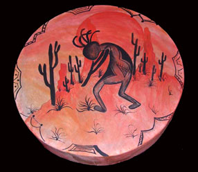 Kokopelli Native American Painted Drums